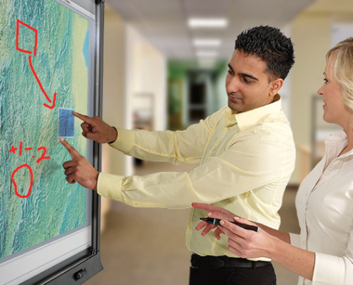SMART board technology in a college classroom
